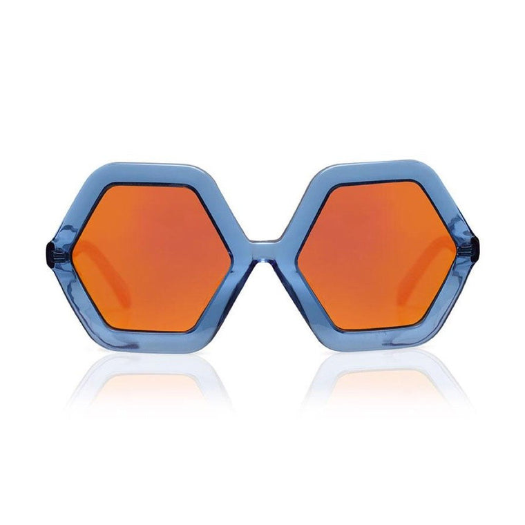 Honey Sunglasses - Blue Jelly w/ Mirrored Lenses
