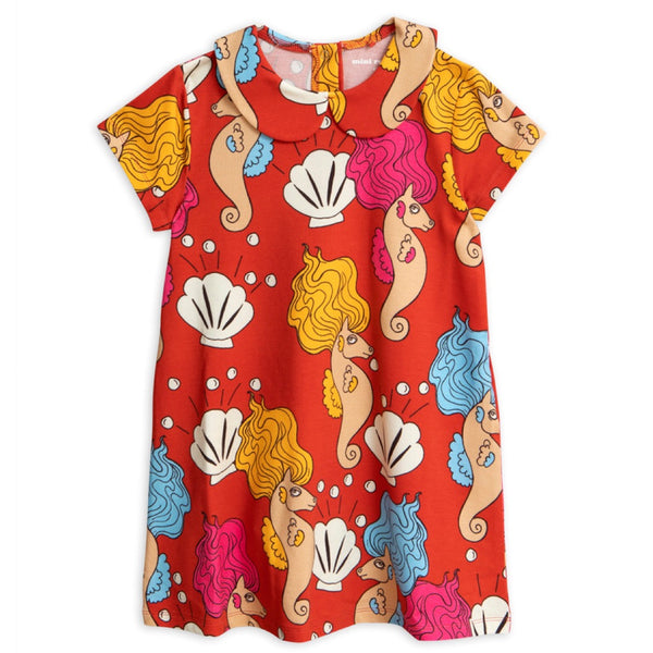 Seahorse Collar SS Dress - Red