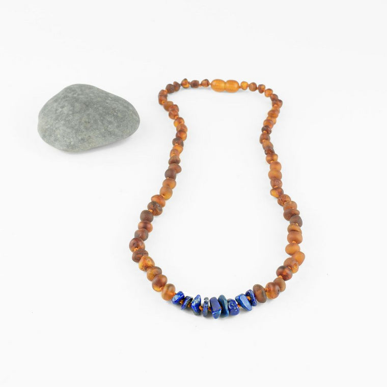 Raw Baltic Amber Necklace + Lapis Stones