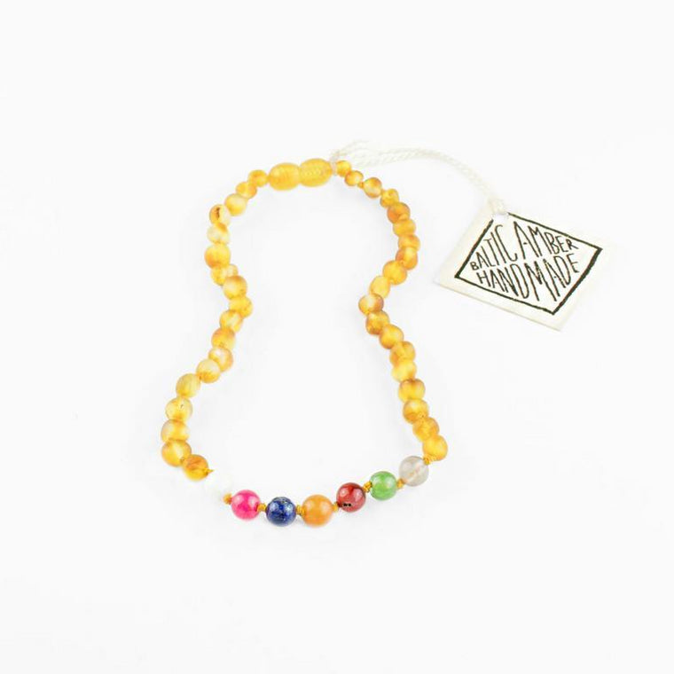 Raw Baltic Amber + Vintage Style Necklace