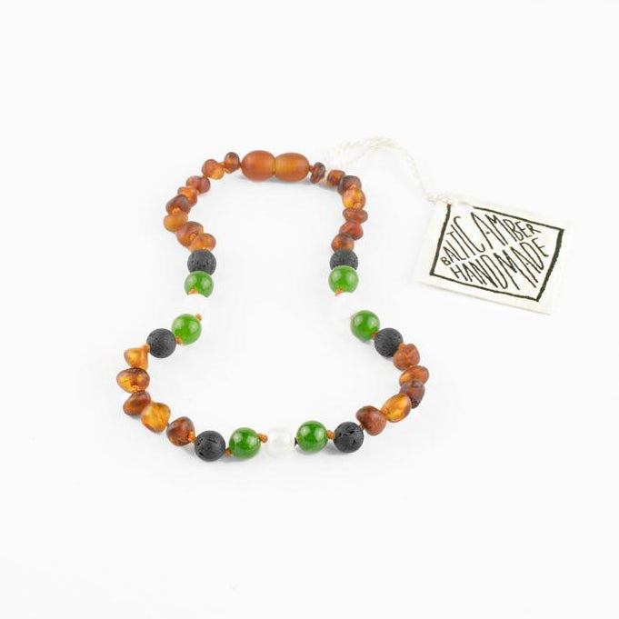 Raw Cognac Amber | Lava + Jade + Agate | Necklace