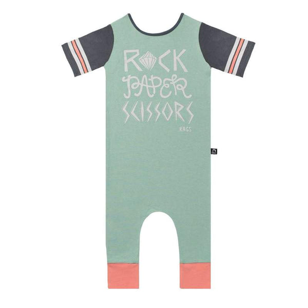 Retro Short Sleeve Rag - 'Rock Paper Scissors' Granite Green