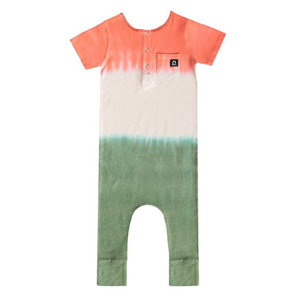 Short Sleeve Henley Pocket Capri Rag - Crabapple/Rainy Day/Myrtle Dip Dye