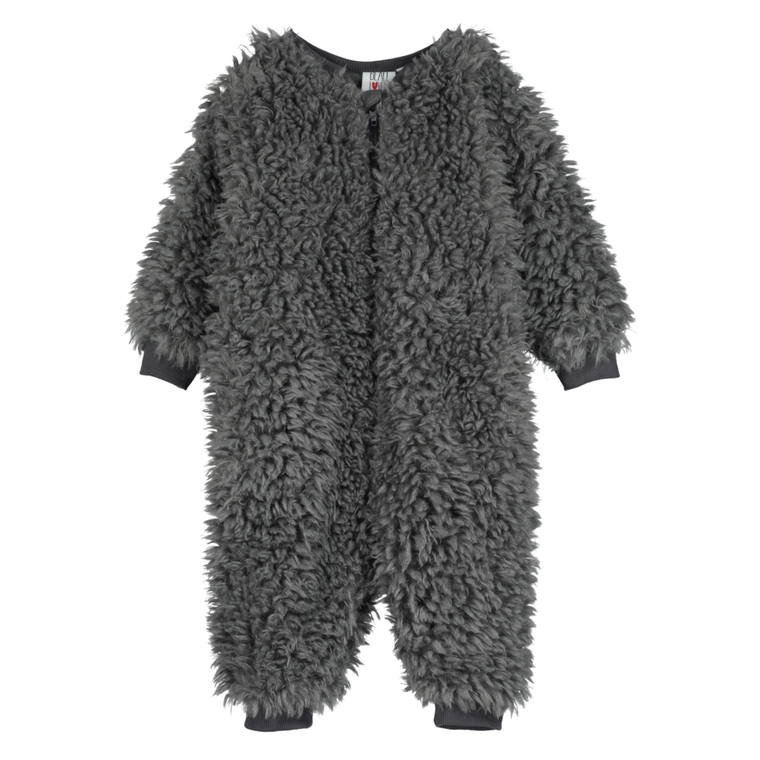 Fur All-In-One Baby Romper - Quiet Grey