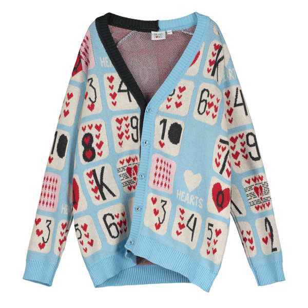 Game of Hearts Knit Cardigan - Sky