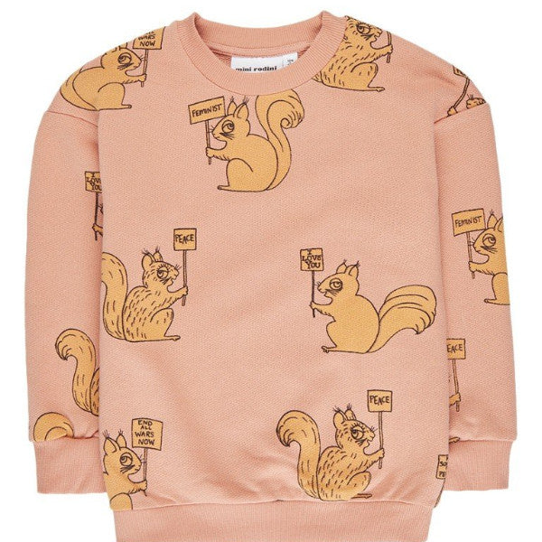 Mini Rodini AOP Squirrel Sweatshirt - Beige