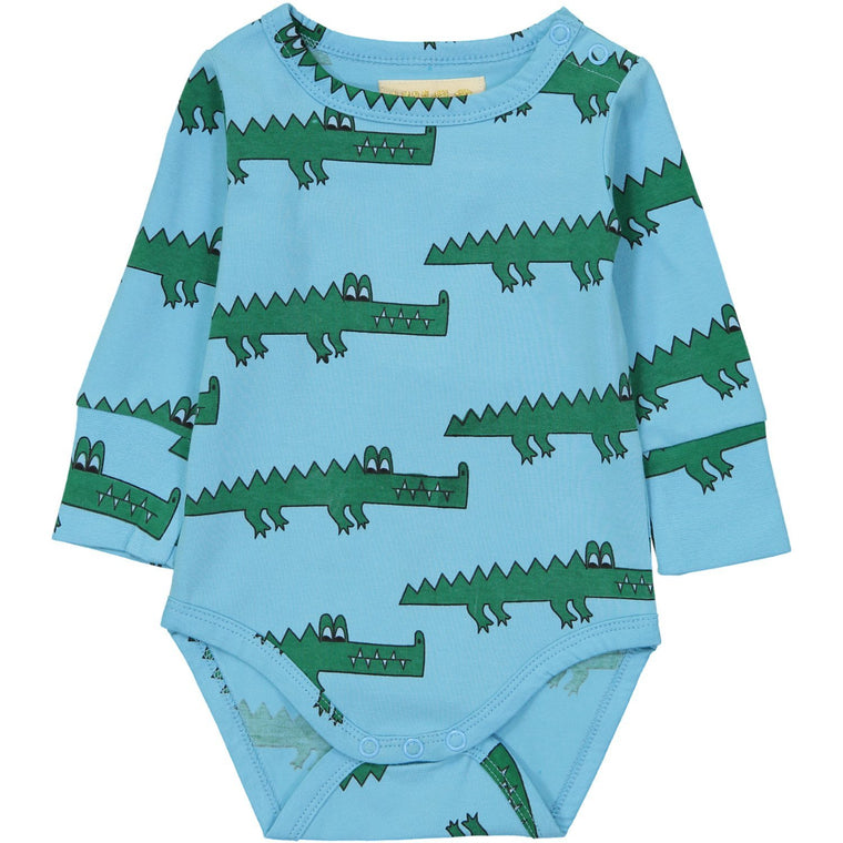 Crocodile Long Sleeve Onesie - Blue