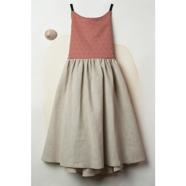 Reversible Dress with Straps: Beige & Terracotta