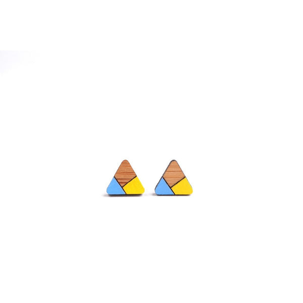 Triangle Stud Earrings: Blue/Yellow