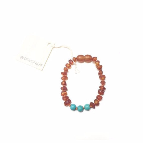 Baby Baltic Amber Bracelet/Anklet - Turquoise + Cognac