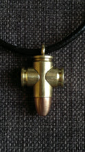 Real 9mm Bullet pendant necklace crucifix cross Christian goth punk
