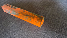 Pen Blank orange green turning resin swirl