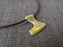 Viking norse small axe pendant necklace hand cast bronze tribal