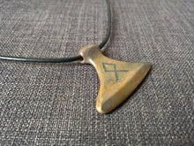 Odin rune viking norse large axe pendant necklace hand cast bronze