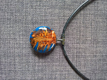 Natural banksia pod blue necklace pendent leather metal handcrafted