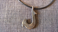 large hei matau fish hook pendant necklace hand cast bronze tribal