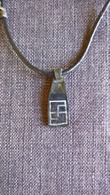 Native American inlaid silver pendant necklace swastika