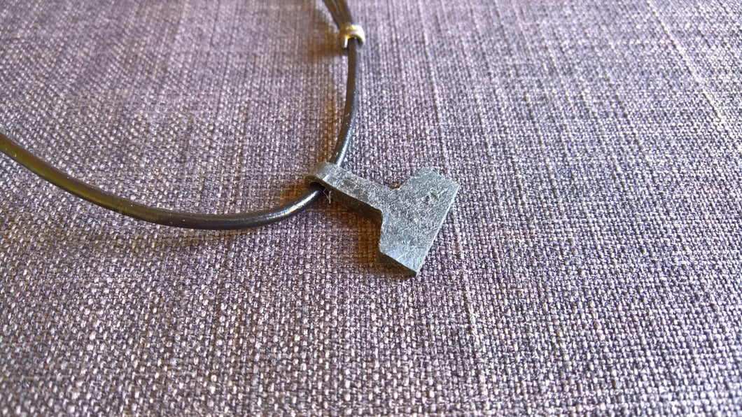 Thors hammer mjolnir pendant necklace hand forged iron goth pagan