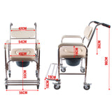 Aluminum Mobile Shower Toilet Bathroom Commode Chair