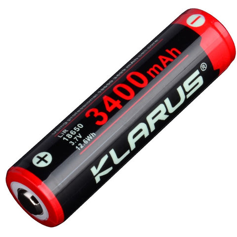 KLARUS 18650 3400mAh 3.7V PROTECTED LITHIUM BUTTON TOP BATTERY