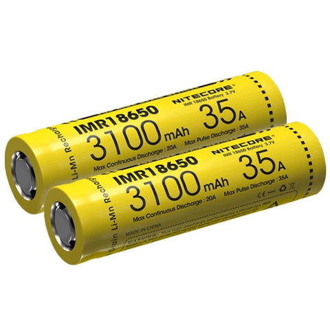NITECORE IMR18650 3100MAH 35A HIGH DRAIN BATTERY (1 PAIR)