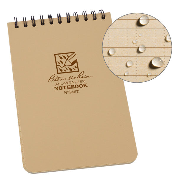 "RITE IN THE RAIN WEATHERPROOF TOP SPIRAL 4"" X 6"" NOTEBOOK - TAN (946T)"
