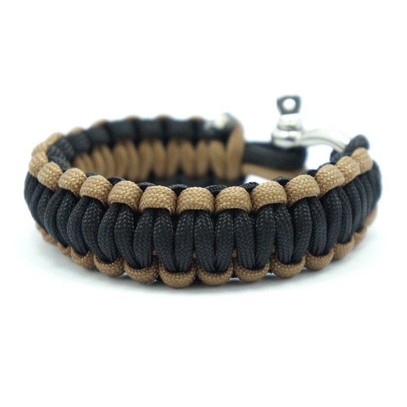550 PARACORD SURVIVAL BRACELET - BLACK KHAKI - Hock Gift Shop | Army Online Store in Singapore