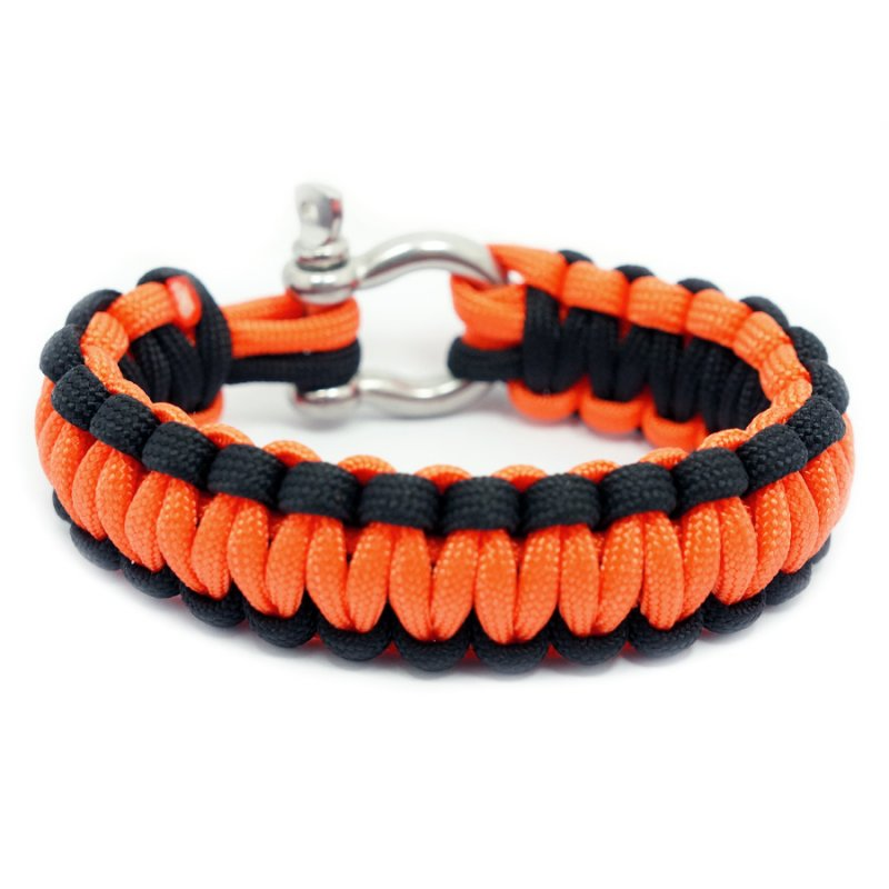 550 PARACORD SURVIVAL BRACELET - BLACK ORANGE - Hock Gift Shop | Army Online Store in Singapore