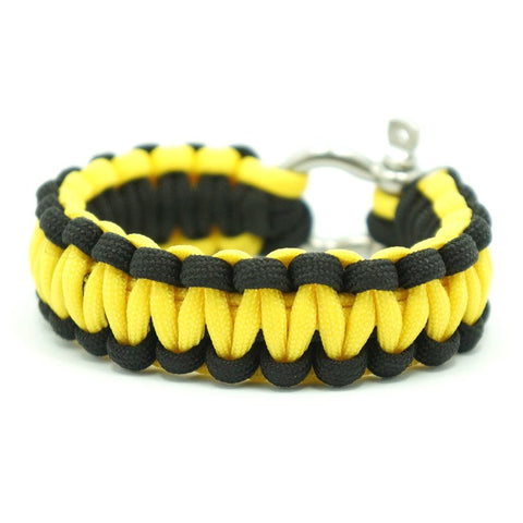 550 PARACORD SURVIVAL BRACELET - BLACK YELLOW - Hock Gift Shop | Army Online Store in Singapore