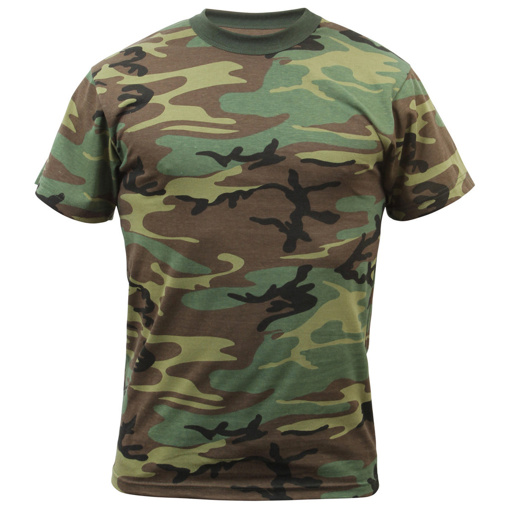 ROTHCO CAMO T-SHIRT - WOODLAND CAMO - Hock Gift Shop | Army Online Store in Singapore