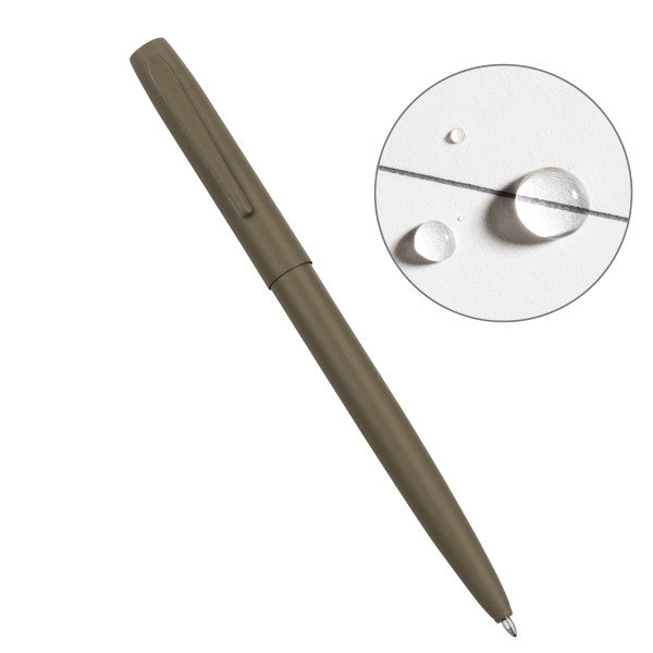 RITE IN THE RAIN WEATHERPROOF FLAT DARK EARTH METAL CLICKER PEN - BLACK INK (FDE97)