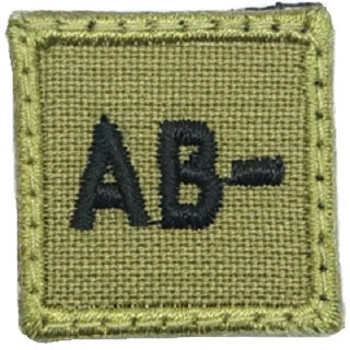 "HGS BLOOD GROUP 1"" PATCH, AB- (OLIVE GREEN)"