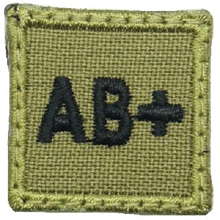 "HGS BLOOD GROUP 1"" PATCH, AB+ (OLIVE GREEN)"