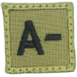 "HGS BLOOD GROUP 1"" PATCH, A- (OLIVE GREEN)"