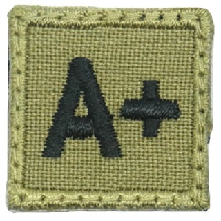 "HGS BLOOD GROUP 1"" PATCH, A+ (OLIVE GREEN)"