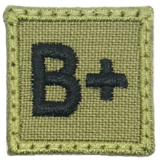 "HGS BLOOD GROUP 1"" PATCH, B+ (OLIVE GREEN)"