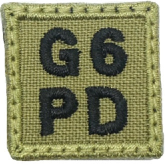 "HGS BLOOD GROUP 1"" PATCH, G6PD (OLIVE GREEN)"