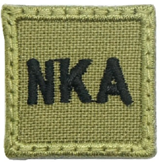 "HGS BLOOD GROUP 1"" PATCH, NKA (OLIVE GREEN)"