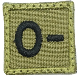 "HGS BLOOD GROUP 1"" PATCH, O- (OLIVE GREEN)"