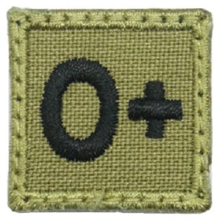 "HGS BLOOD GROUP 1"" PATCH, O+ (OLIVE GREEN)"