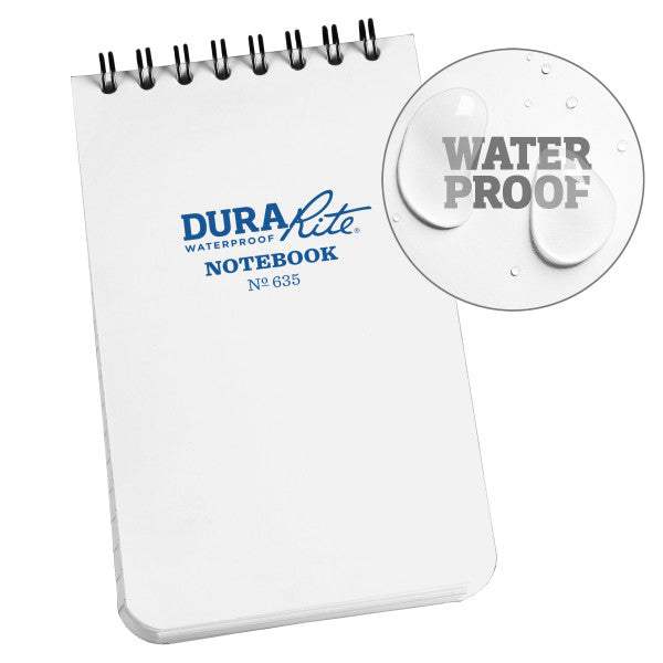 "RITE IN THE RAIN WATERPROOF (DURARITE) TOP SPIRAL 3"" X 5"" NOTEBOOK - WHITE (635)"