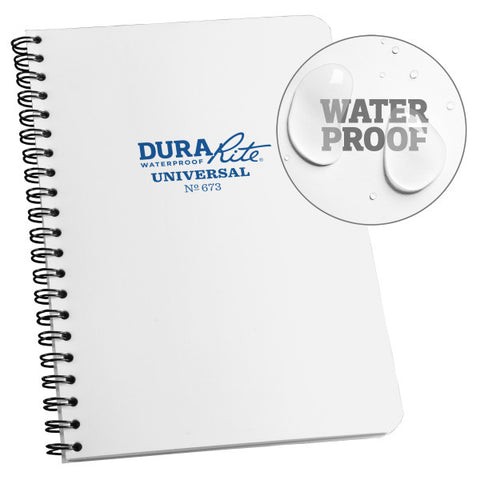 "RITE IN THE RAIN WATERPOOF (DURARITE) SIDE SPIRAL 4.625"" X 7"" NOTEBOOK - WHITE"