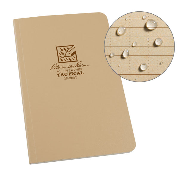 "RITE IN THE RAIN WEATHERPROOF 4.625"" X 7"" FIELD BOOK - TAN (980T)"