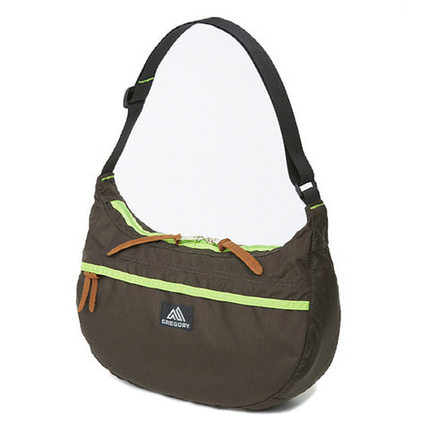 GREGORY SATCHEL - M - DARK COFFEE / LIME