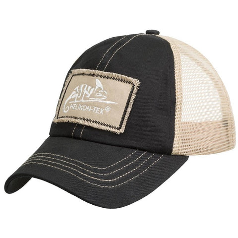 HELIKON-TEX TRUCKER LOGO CAP - COTTON TWILL - BLACK / KHAKI A