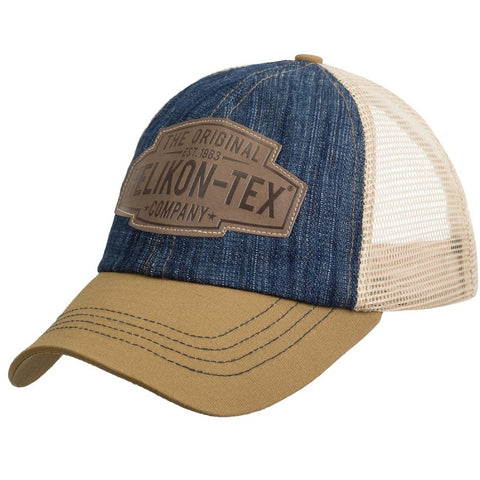 HELIKON-TEX TRUCKER LOGO CAP - DENIM BLUE / KHAKI