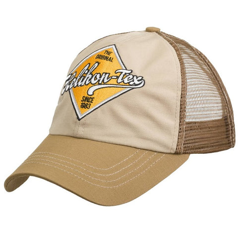 HELIKON-TEX TRUCKER LOGO CAP - COTTON RIPSTOP - KHAKI / BROWN B