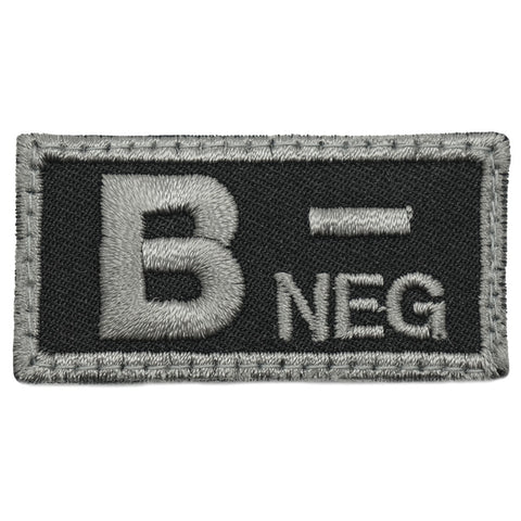 HGS BLOOD GROUP PATCH - B NEGATIVE (BLACK FOLIAGE)