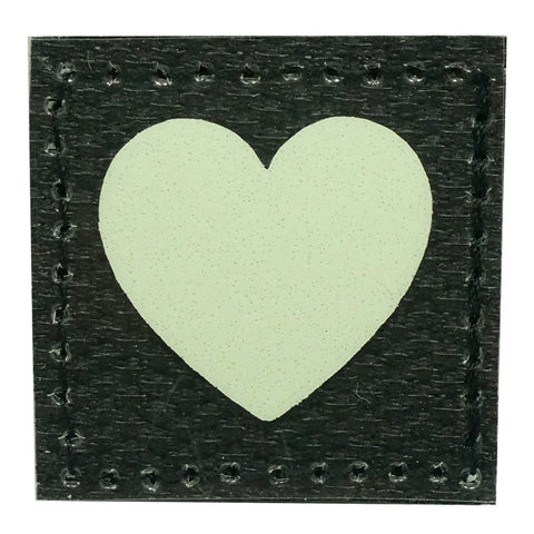 1 INCH HEART PATCH - GLOW IN THE DARK