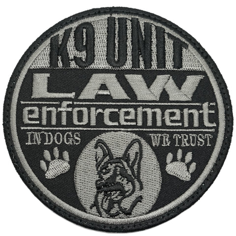 K9 LAW ENFORCEMENT PATCH - BLACK FOLIAGE